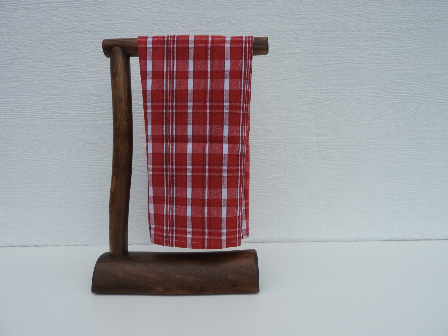 Countertop Log Hand Towel Holder Espresso Stain