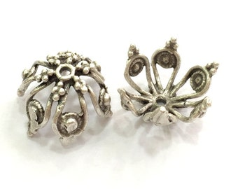2 Pcs (16x12 mm) Antique Silver Plated Brass  Caps , Findings G5773