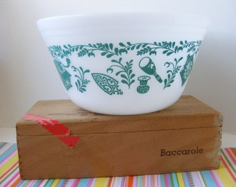 Vintage Federal Kitchen Aids, Teal Utensils Pattern, Mixing Nesting Bowl, 8 Inch, Federal Antique Kitchen Aids, Utensils Bowl, Turquoise