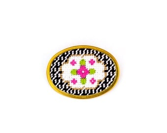 DIY Needlepoint Jewelry Kits: Victorian Floral Oval Pin