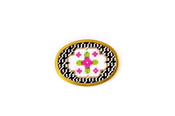 Sale! DIY Needlepoint Jewelry Kits: Victorian Floral Oval Pin