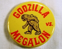 Godzilla vs. Megalon Pin, Movie, Monster Movie, Japan, Sci-Fi, Science Fiction, Kaiju, Promotional Pin, Yellow, Red, Pin, FREE US Shipping