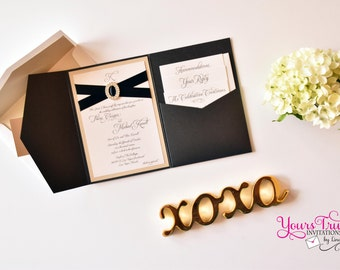 Sample - Deluxe Crystal Buckle Pocket folder Wedding Invitation Suite shown in shimmer black and champagne or in your colors