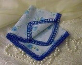 Blue Floral Handkerchief, Hanky, Hankie, Something Blue, Bridal, Hand Crochet, Lace, Monogrammed, Personalized, Ready to ship, Ladies