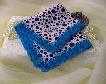 Teal Blue Handkerchief, Hanky, Hand Crochet, Polka Dots, Monogrammed, Personalized, Unique, Modern, Black, Crochet Lace, Girls Handkerchief
