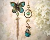 Flutterby OOAK African Turquoise Teal Butterfly Dangle Earrings Spring Summer Garden Wedding Gemstone Festival Earrings December Birthstone