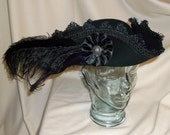 Black Pirate Hat- Fancy Black Wool Tricorn with Black Trim, Ostrich, Rooster and Peacock Feathers