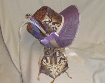 Lavender, Gold and Ivory Stovepipe Bonnet and Reticule- Regency, Georgian, Jane Austen Era Bonnet and Purse