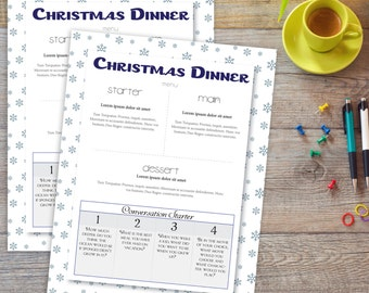 Christmas dinner menu Printable with Conversation Starter