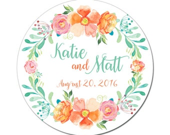 Custom Wedding Labels Personalized Summer Bouquet Flowers Watercolor Florals Round Glossy Designer Stickers - Quantity 100