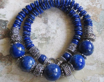 Lapis Royalty -- AA Lapis Lazuli genuine gemstones and Sterling beads Necklace -Statement Necklace