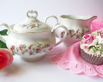 Cream and Sugar Set Favolina Pink Floral - Vintage Chic Tea Parties