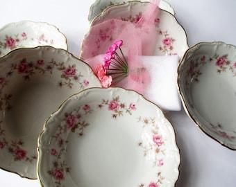 Vintage Dessert Bowls Pink Rose Blue Floral Edelstein Florence Set of Six