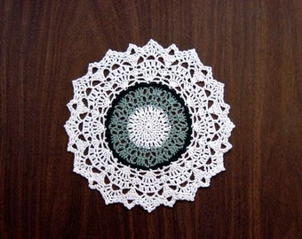 St Patricks Day Decor Crochet Lace Doily, Green, White, Table Accessory, Irish Home Decor, New