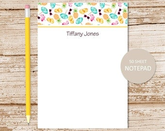 personalized notepad . pineapple notepad . watercolor pineapple flamingos, sunglasses, tropical . personalized stationary . stationery gift