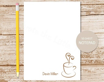 coffee personalized notepad . personalized stationery . coffee cup notepad . coffee note pad . coffee lover stationary gift