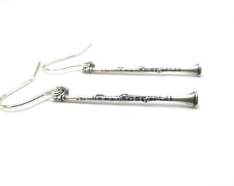 Clarinet Earrings- Small Clarinet Dangle Earrings- Sterling Silver Ox Finish