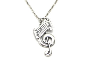 G Clef Music Notes Necklace- Custom Necklace- Personalized Music Necklace