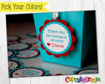 Favor Tags, Birthday Party Decoration, Set of 12