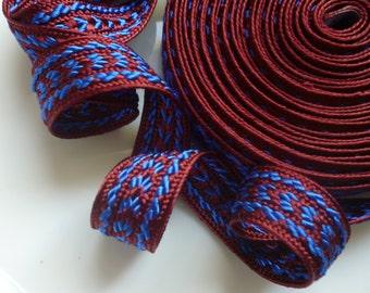 Moroccan trim, Rust and Moroccan blue  art silk  5 metres
