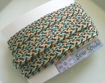 Moroccan art silk trim, cream, brown and  duck egg blue, woven , medium,  5 metres