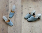 Vintage 1960s slippers. baby blue leather slippers us 6
