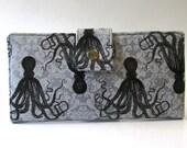 Handmade long wallet for women - octopus in black - custom order - vegan clutch - cotton purse - gift for her - light grey damask
