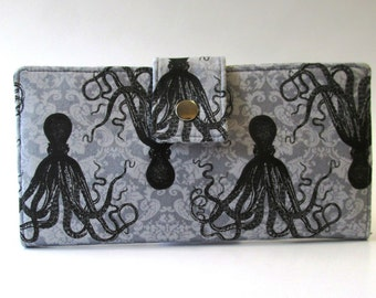 Handmade wallet for women - octopus in black - ready to ship  - vegan clutch - cotton purse - gift for her - light grey damask -