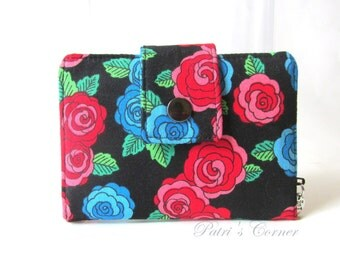 Small and slim women wallet - Flowers for Frida - handmade little purse - bifold - roses in bold colors pink and blue -