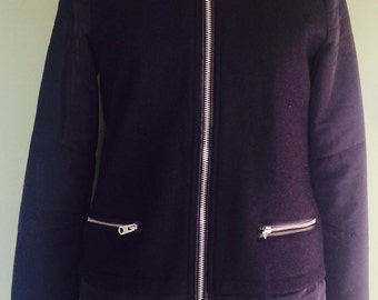 Dark navy longline 90s bomber coat (s)
