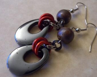 "Dangle ""Mars Influence"" Hematite, Raku Clay, and Red Earrings"