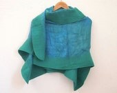 felted silk shawl, green turquoise
