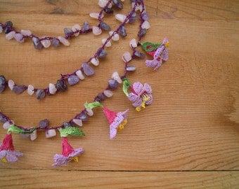 crochet flower necklace, multi strand, pink lilac oya necklace