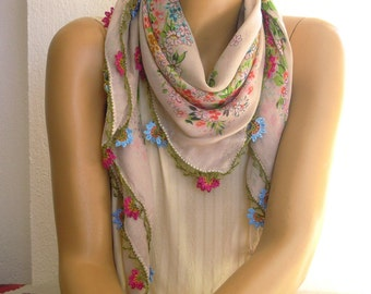 beige oya scarf, crochet trim, turkish scarf