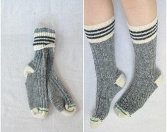 Handmade vintage black and cream woolen mill socks/ winter thermal ski stripe socks