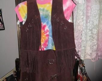 1960s/'70s Fringed Dark Brown Vest & Skirt Set, sz S