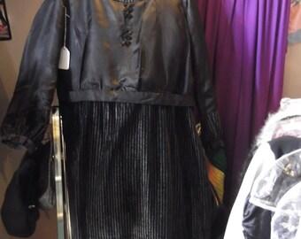 1920 Black Satin & Velvet Dress, sz Lrg