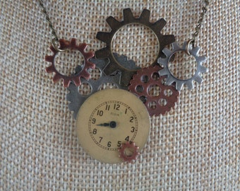 Gear and clock face necklace- Steampunk necklace