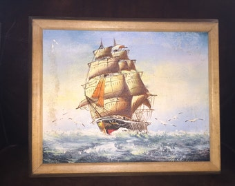 Vintage Oil Painting of a Ship - Signed