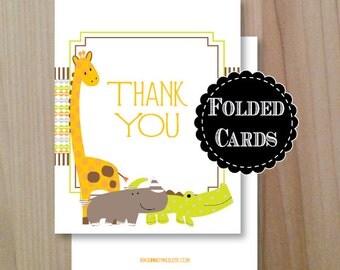 Zoo Animal, Folded Thank You Cards, Set of 10, Professionally Printed, Folded Zoo thank you cards