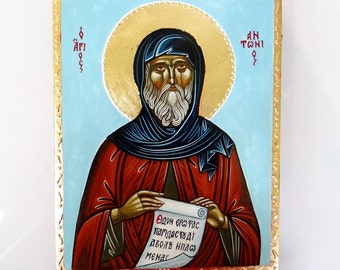 Saint Anthony The Great,  original handpainted icon, Orthodox Christian Byzantine Icon - 6 by 8 inches