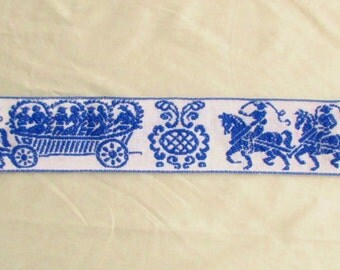 Vintage Blue and White Horse and Carriage Trim