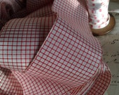 Vintage French Ribbon Trim / Red & White Chequered Tape / 5 yards French Haberdashery -Millinery Bows
