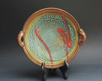 Handmade white stoneware serving bowl or platter iron red 3109