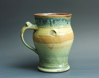 Pottery beer mug, ceramic beer stein, stoneware mug mottled green 18 oz 3351