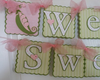 Sweet Pea Baby Shower Banner-new baby shower-twin shower-baby sprinkle-twin baby shower
