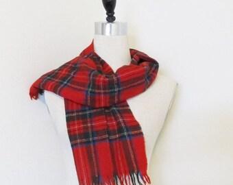 40% OFF SALE Vintage Red Wool Tartan Irish Plaid Scarf Unisex