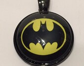 Batman Symbol Necklace - 25mm Glass Pendant - Black and Gold