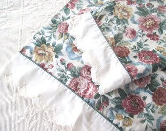 Vintage Pair of King Size Pillowcases, Floral Pattern, Cottage Chic