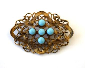 Antique Art Nouveau Sash Pin With Turquoise Glass c.1910